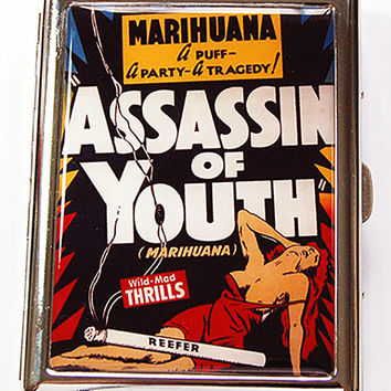 Metal cigarette case, Funny Cigarette Case, cigarette case humor, Stainless Steel Case, Metal Wallet, Marijuana case, cigarette box (4881)