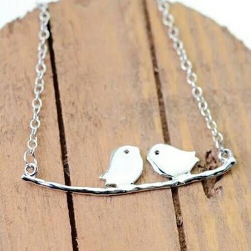 Love Birds Necklace - Bird Pendant Necklace - Bird Branch Necklace - Valentines Day Gift -PREORDER