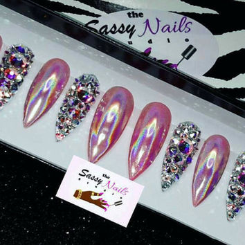 Bling/Pink holographic Nails: Fake Nails| False Nails| Holographic Nails| Press On Nails| Custom Nails| Glue On Nails| Faux Nails| Holo