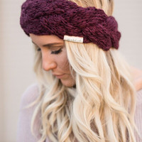 Knitted Bouclé Yarn Headband in Maroon