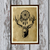 Dreamcatcher decor Native american art Tribal deer print   Wild west poster 8.3 x 11.7 inches
