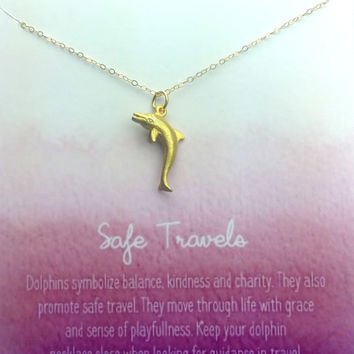Safe Travels Necklace - Simply Charmed Line - Dolphin Necklace - Mother's Day Gift