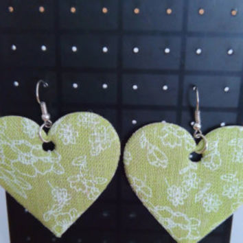 Soft green heart earrings