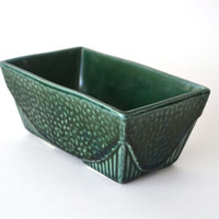 Mid Century Hull Pottery Planter Green Brush Glazed USA 75