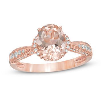 Precious Bride™ Oval Morganite and 1/4 CT. T.W. Diamond Engagement Ring in 14K Rose Gold