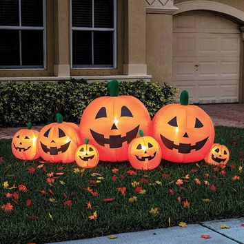 8' Inflatable Pumpkin Patch Self Inflates 7 Jack-O'-Lanterns Halloween Yard Decor
