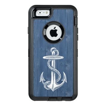 Anchor White Vintage Blue Wood Phone Case OtterBox iPhone 6/6s Case
