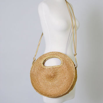 Vintage Oversized Round Straw Purse Tote Large Purse Convertible Bag