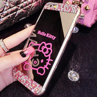 Cute Diamond Mirror Hello Kitty Case For iPhone