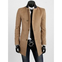 Long Sleeve Stand Collar Single-Breasted Men's Trench Coat | Kitty's Clawset