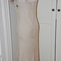 50s Wiggle Dress, Taupe Linen, Shelf Bust, Embroidered, Standaway Bodice, Size M