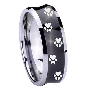8MM Black Concave Paw Print Design Two Tone Tungsten Carbide Laser Engraved Ring