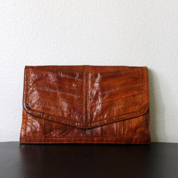 Vtg 70s Leather Eel Skin Clutch purse SUPER SOFT