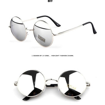 Women Men Unisex Round Vintage Retro Style Popularl Metal Frames Sunglasses Hot (Color: White) = 1945947844