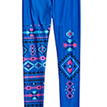 Justice Girl's Blue Tribal Printed Full Length Leggings Size 14 NWT