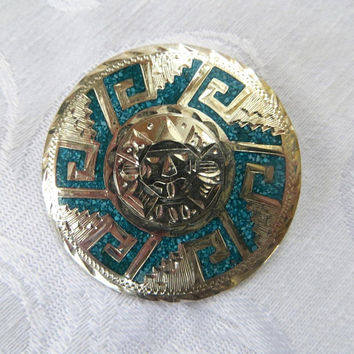 Sterling Sun Brooch, Mexico Silver, Vintage Sun God Pin, Turquoise Inlay, La Plata
