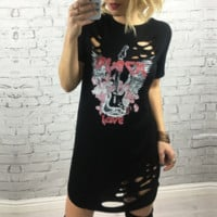 New summer sexy Women printing hollow out dress-0523