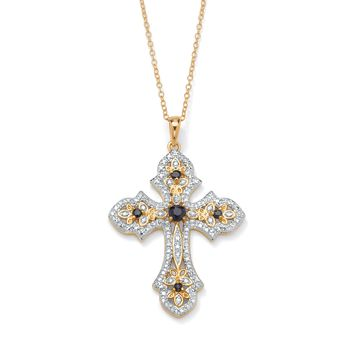 1/2 TCW Genuine Midnight Sapphire and Diamond Accented Cross Pendant 18k Gold over Sterling Silver