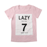 "Pink Contrast ""LAZY 7"" Kids Tee"