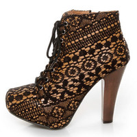 Qupid Puffin 39 Black Fabric Lacy Lace-Up Booties - $51.00