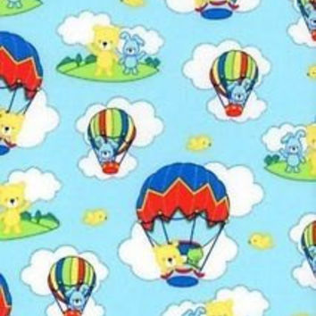 Bear Hot Air Balloon Novelty Cotton Fabric with Blue Background, 1/3 Yard