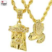 """Jewelry Kay style Iced Out Men's Jesus & Prayer Double Pendant 24"""" & 30"""" Rope Chain Necklace MCH01"""