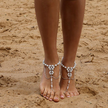 Wedding Anklets, Pearl Barefoot, Barefoot Sandals, Pearl Barefoot, Barefoot Sandals, Anklets