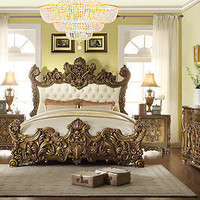 HD-8008 LUXURY GOLDEN ROYAL PALACE 5 PC KING BEDROOM SET