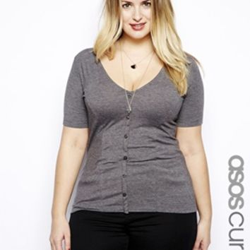 ASOS CURVE Exclusive 90s' Button Through Top