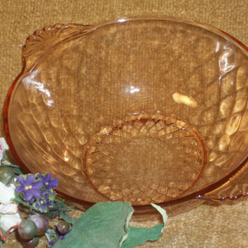 Diamond Pattern Art Deco Vintage 1930's Pink Depression Glass Round Bowl Serving Dish Tableware Home Decor