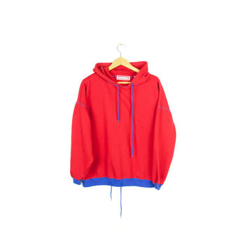 vintage early 90s hoodie / 80s retro hooded sweatshirt / red & blue / super soft! / basic / plain / pullover / medium