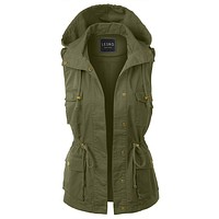 LE3NO Womens Drawstring Waist Hoodie Military Anorak Vest with Pockets