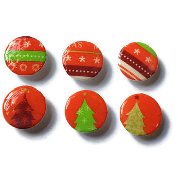 Christmas Magnets - Set of 6 - Christmas Tree, Red, Green, White, Maroon, Gold, Gift Wrap, Unusual, Party Favors, Repurposed, Xmas, Festive