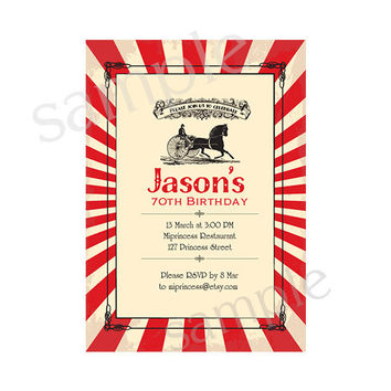 Vintage Carriage Birthday Invitation for any age,  60 70 80 90 birthday invitation Retro Card Design party invite - card 64