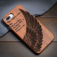 Angel's Wings: Hard Wood Designer Case For Samsung Galaxy S5 S6 S7 S8 Edge Plus Note 3 4 5 8 100% Natural Wood Case Cover For iPhone 5 5S 6 6S 7 8 Plus X