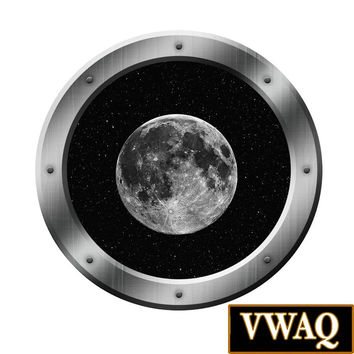 Space Ship Porthole Moon Decal Outer Space Window  Graphics Room PS5