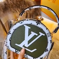 LV women's canvas soft round bag shoulder bag crossbody bag