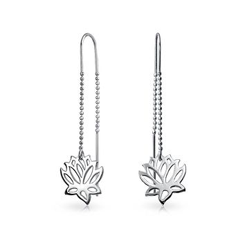 Zen Lotus Flower Beaded Chain Threader Earring 925 Sterling Silver