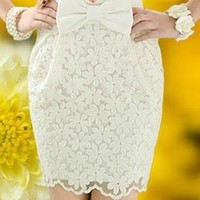 High Waisted Lace Bowknot White Skirts