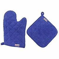 Lavlish Oven Mitt & Pot Holder Set 100% Cotton, Blue