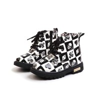 Unisex Cotton Lined Boots Child Skull Print Lace-UP Flat Martens Kids