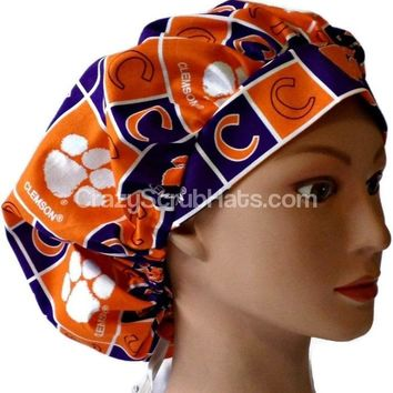 Women's Bouffant Surgical Scrub Scrub Hat Cap in Clemson Tigers Squares w/ Elastic and Cord-Lock