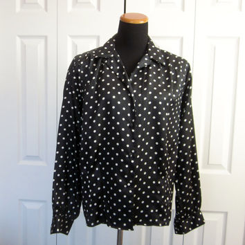 Vintage Polka Dot Blouse Black and White Oscar de la Renta Silky Polyester Business Secretary Attire Womens 10 Long Sleeve Dressy Blouse