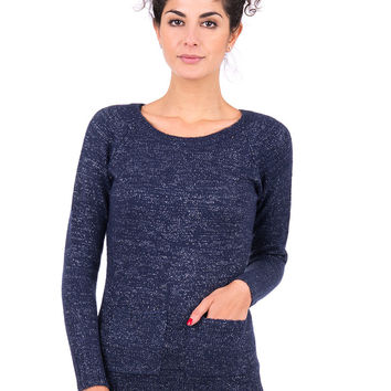 Knitted Jumper With Pocket-Navy/Silver-UK 16 - EU 44