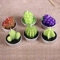 6Pcs/Set New Artificial Green Plants Candle Min Cactus Grape Candles For Birthday Wedding Party Decorations Home Decors