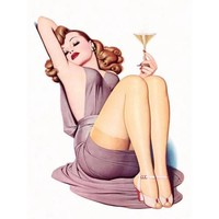 NEW Retro Pinup Girl Redhead Drinking Champagne Vintage Poster Wall Art Decor