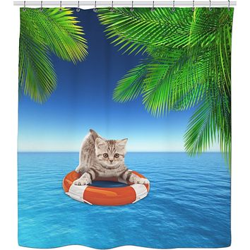 Rosc Kitty Floating Shower Curtain