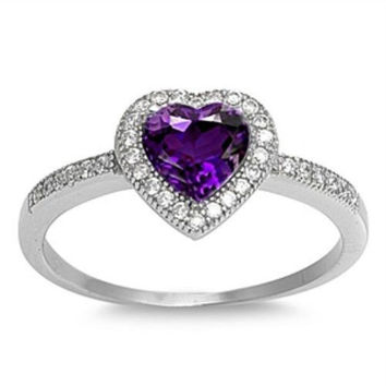 Sterling Silver Halo Amethyst CZ Heart Engagement Ring size 4 5 6 7 8 9 10