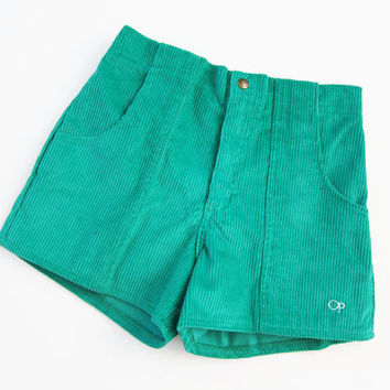 70s OP Corduroy Shorts / High Waisted Shorts / Surf / NOS Green Vintage Shorts Small