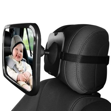 Baby Car Mirror for Rear View - Facing Back Seat for Infant Toddler Child in Car Seat- 360 Adjustable & Double Straps